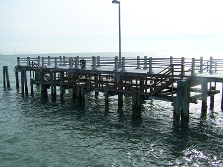 Fishing piers fort desoto county park bay pier for Tampa fishing piers